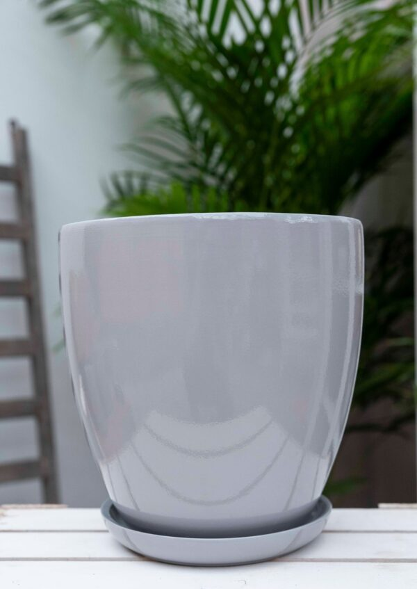 020-08417 Szara doniczka ceramiczna klasyczna